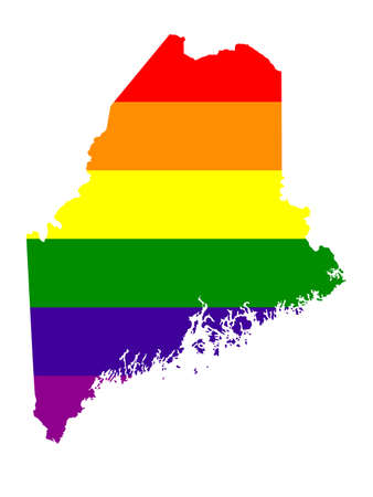vector illustration of map of LGBT Maine - U.S. state