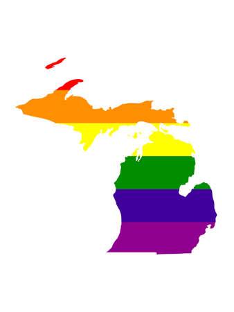 vector illustration of map of LGBT Michigan - U.S. state Illustration