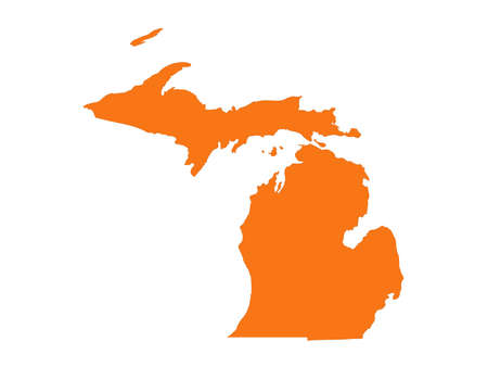 vector illustration of map of Michigan - U.S. state