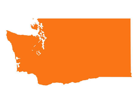 vector illustration of map of Washington (state) - U.S. state