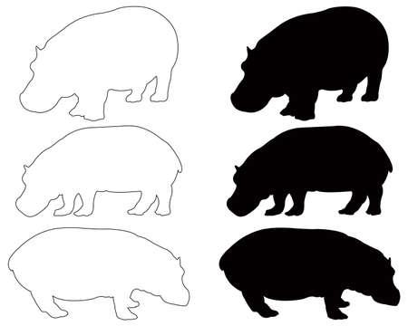 vector illustration of black hippo silhouette