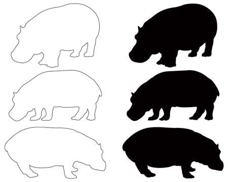 vector illustration of black hippo silhouette