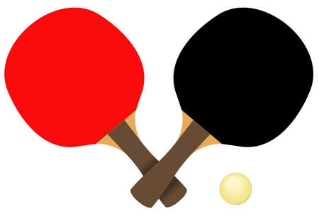 vector illustration of table tennis and ball silhouette Çizim
