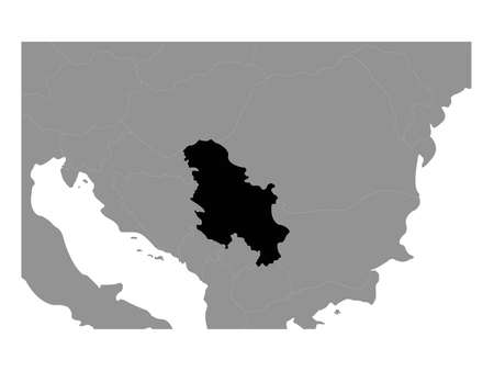 vector illustration of black map of Serbia