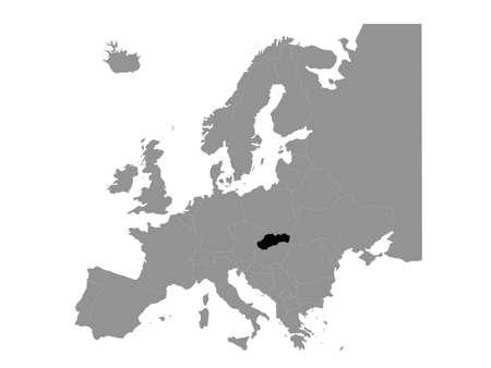 vector illustration of black map of Slovakia Illusztráció