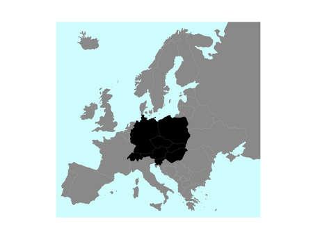 vector illustration map of Central Europe Illusztráció