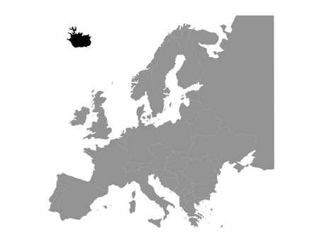 vector illustration of black map of Iceland
