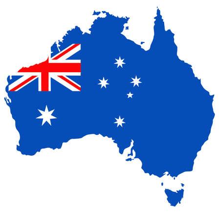 australia map with flag Иллюстрация