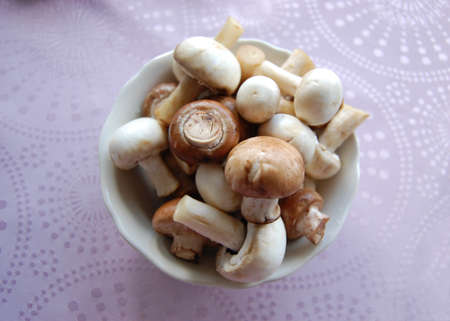 Mushrooms in a white bowl Stock Photo
