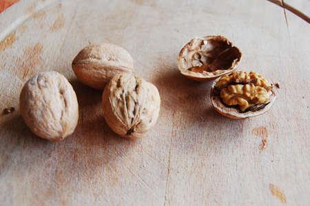 Walnuts and walnuts shell Stock Photo