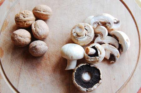 Mushrooms and walnuts