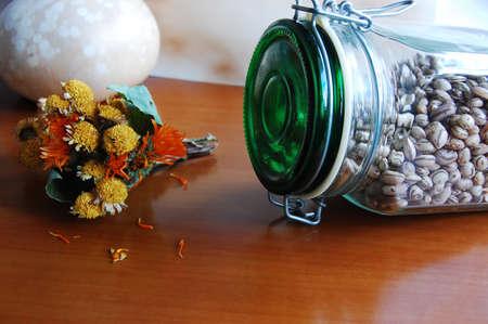 Kidney Beans in Jar and field flowers