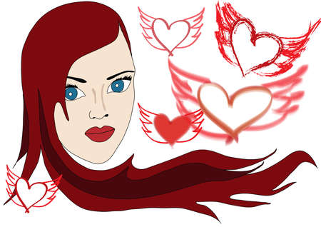 Beautiful Red haired Woman with Hearts Vector