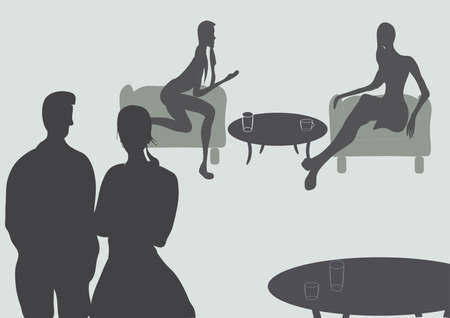 Silhouettes of People Talking at a Bar or Cafe Vector