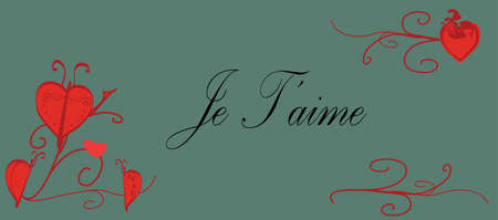 Je T aime Gift Card with Red Hearts and Butterfly Vector