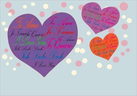 in liebe: I Love You Te Amo Te Quiero Je T aime Ich Liebe Dich Illustration