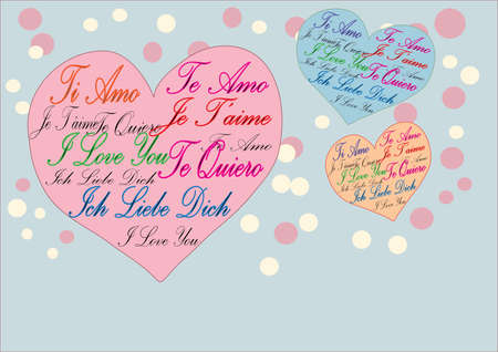 in liebe: I Love You Te Amo Je Taime Ich Liebe Dich Card Illustration