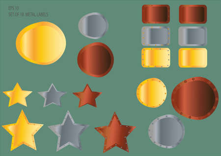 Set of Metal labels and buttons Vector
