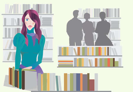 librarian: Woman in a Bookstore Illustration
