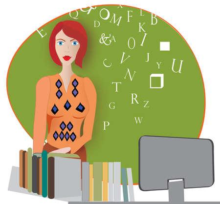 buchhandlung: Buchhandlung Verk�ufer oder Lehrer in einem Klassenzimmer Illustration