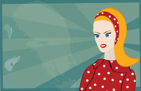 Retro Woman Portrait on grunge Bakground Vector
