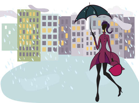 Beautiful Girl Walking in the Rain with Umbrella After Shopping Vector