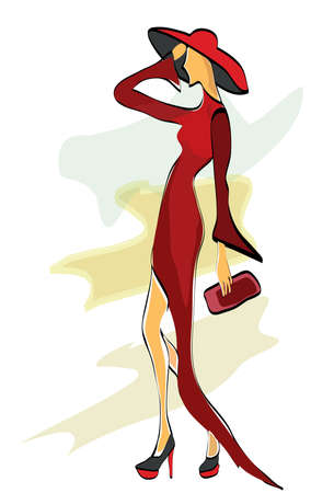 Fashion Design Sketch of a Model with a Dress and a Hat