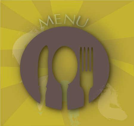 main dishes: Men� de restaurante dise�o con Tenedor, cuchara y cuchillo