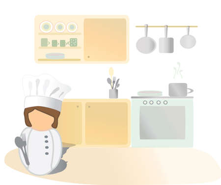 Cooker Icon  Chef, cooking in a kitchen  Vector
