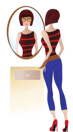 Young Woman Looking at the Mirror Vector