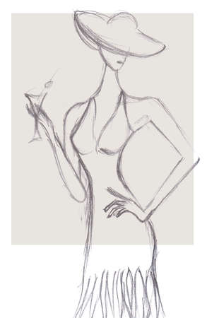Sketch of a Woman Holding Martini Cocktail Glass photo