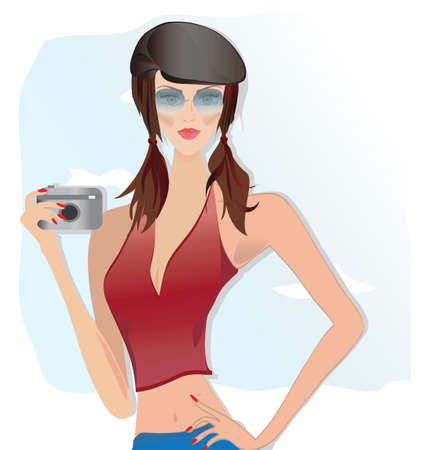Beautiful Girl, Dressed in Fashionable Clothes Holds Photo Camera  Vector