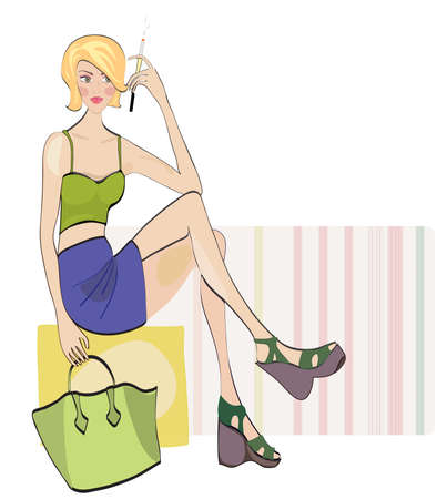 up skirt: Blond smoking girl Dressed in Fashion Clothes Illustration
