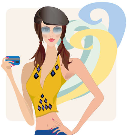 woman credit card: Woman, dressed in Fashion Clothes, Holding Credit Card