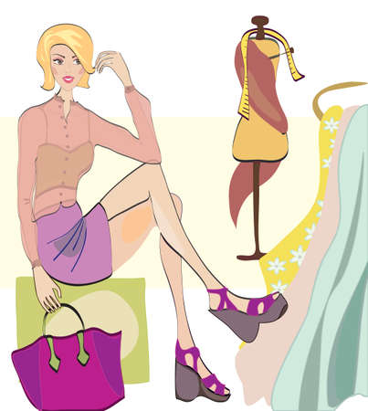 Girl on Shopping  Fashion Shop with Clothes and Fabrics and Textiles Vector