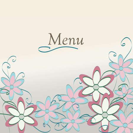main dishes: Floral Restaurant Menu Design Template cubierta del patr�n de flor