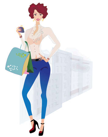 Girl on Shopping  Fashion Girl holding Purse and Bags on Urban Background Vector