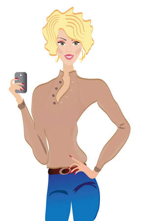 Girl with Mobile Phone  Smart Telephone Technology Vector