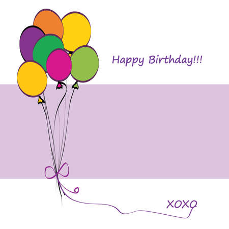 b day parties: Happy Birthday Card with Balloons and Copy Space Illustration