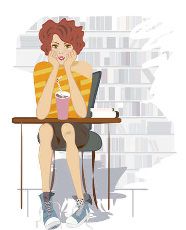 Teenage Girl with Chocolate Shake and Books  Student sitting on a Desk Vector