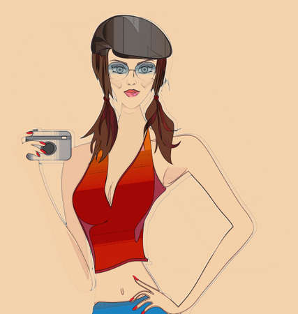 Retro Sketch of a Beautiful Girl with Photo Camera  Portrait of a Woman with Fashion Hat and Glasses photo