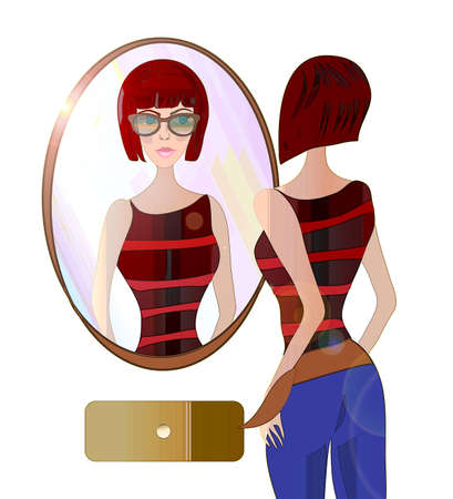 Young Woman Looking at the Mirror  Illustration of a girl with Fashionable Sunglasses, Preparing to go outside for a walk