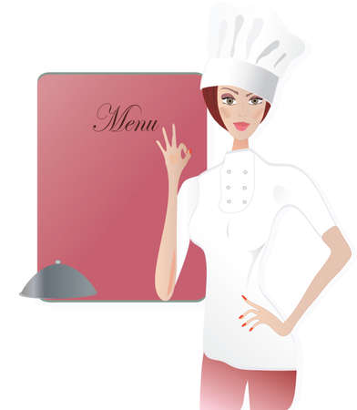 chef s hat: Chef  Woman in cooker uniform showing Ok sign