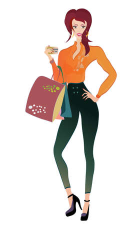 woman credit card: Fashion Woman with Golden Credit Card and Bags on shopping Illustration