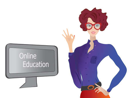 Online Education  E-learning Concept with a Girl showing Ok Sign