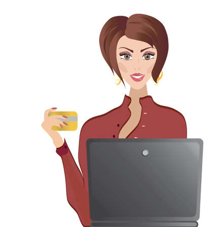 woman credit card: Woman with Credit Card and Laptop  Online shopping and Internet Banking Concepts
