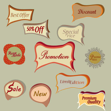 Set of Vector Tags  Collection of Universal Labels  Vector