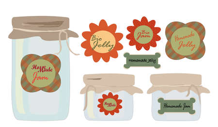 Labels Set  Collection of labels with Jars of Jelly and Jam  Homemade and Bio Concept Vector