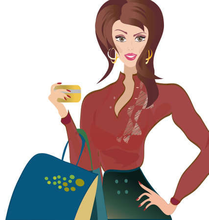 woman credit card:  Woman with Credit Card  Fashion Girl on Shopping