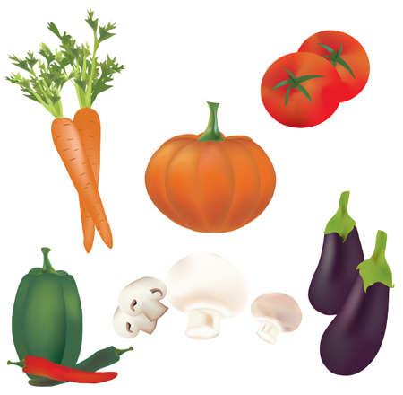 aubergine: 3D Set of Vegetables  Illustration Collection Illustration